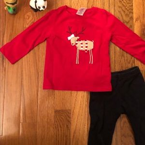 Gymboree reindeer shirt with bow & black pants